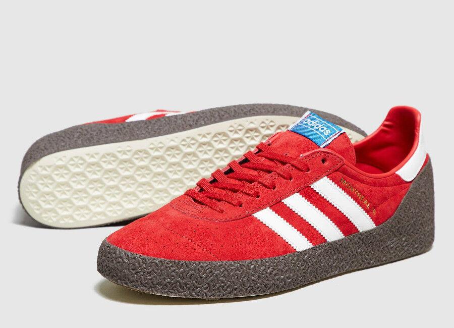 Raro Adidas ORIGINALS para hombre rojo Montreal 76 Zapatillas Zapatos Nuevo BNWT