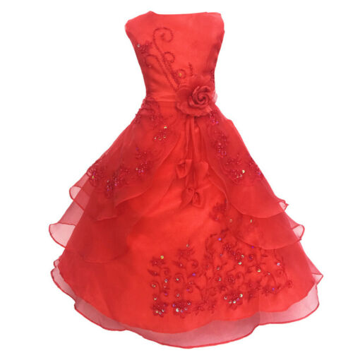 Kid Girls Flower Sequins Princess Dress Pageant Party Birthday Wedding Ball Gown