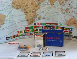 TAKE-OFF-Geography-Game-Resource-Games-1987-COMPLETE-w-Map-Planes-Dice-Cards