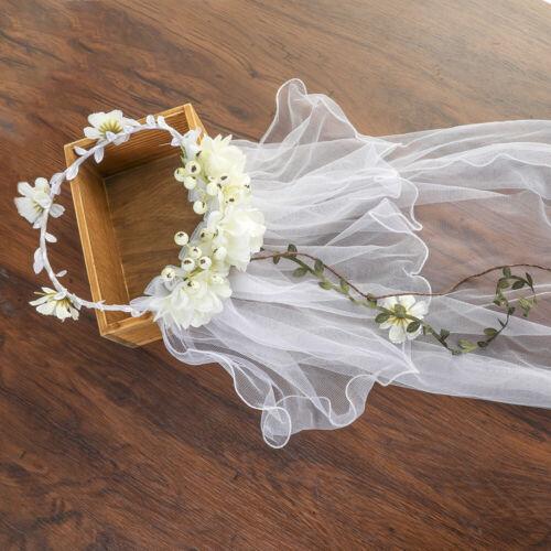 Women/'s Flower Crown Headband Garland Long Veil Hairband Wreath Wedding Beach