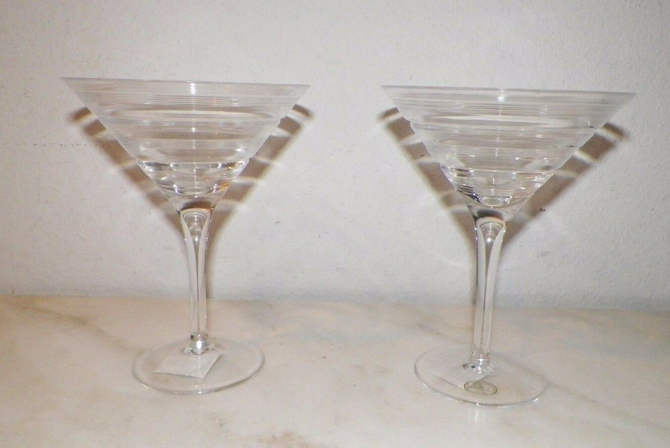Paire (2) Ajka Cristal Transparent Martini verres Gravé Cercles jamais utilisé 6 1 2