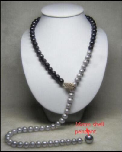 """south sea black gray pearl necklace 35/"""" Sweater chain Adjustable 9-8 MM AAA"""