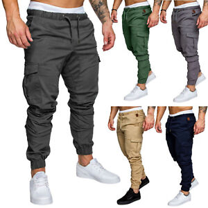 Men-039-s-Slim-Fit-Urban-Straight-Leg-Trousers-Casual-Pencil-Jogger-Cargo-Pants-New
