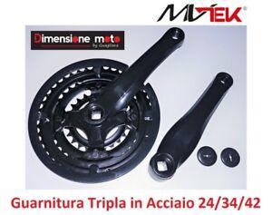 Guarnitura Tripla in Acciaio Nero 24//34//42 per Bici 20-24-26 MTB Mountain 0120