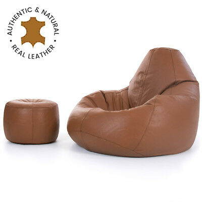 Luxury Real Leather Bean Bag with Footstool  XX LARGE Recliner Chair Vintage Tan