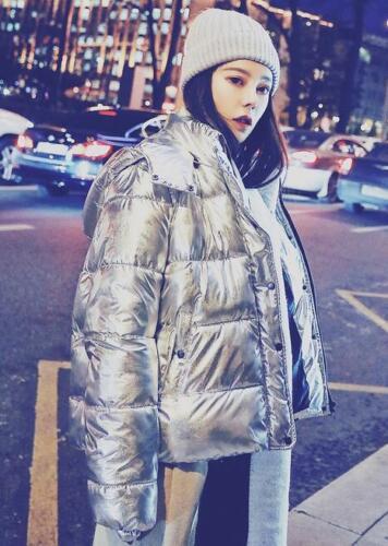 imbottito cappuccio Capispalla invernale in cappuccio con da Parka donna argentato cotone donna da con drqr84x