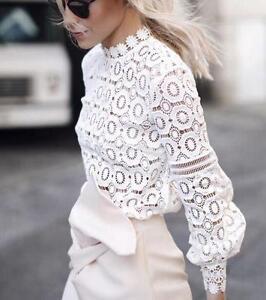 Mujer-Blanca-Encaje-Prendas-para-el-torso-Camiseta-de-moda-calada-Blusas-Camisa-informal-mangas