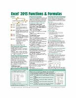 Microsoft Excel 2013 Functions & Formulas Quick Reference Card ... Free Shipping