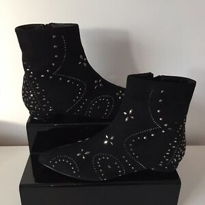 Black Suede Studded Ankle Boots Size UK