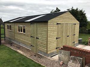 REDWOOD-Heavy-Duty-Timber-wooden-Garage-Workshop-shed-building-12ft-x-18ft
