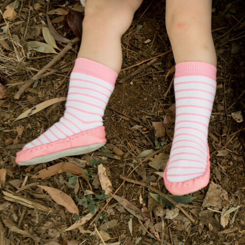 NEW SKEANIE Baby Socks Leather /& Cotton Moccasin Pink