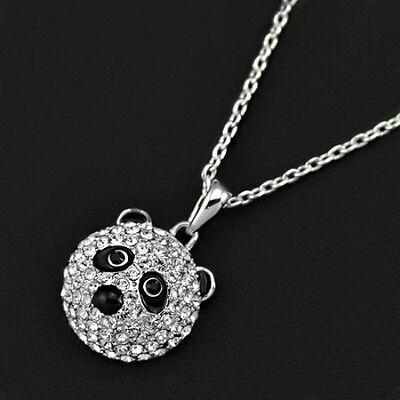 süße Halskette Kette Panda Pandabär Anhänger Weiß Gold plattiert (vergoldet)