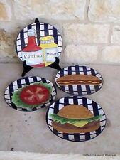 Becca Signature Collection 4 Grillin Plates Hamburger Hotdog Home Etc USA New