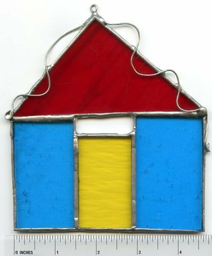 Original Design TINY HOUSE Suncatcher or Wall Hanging TURQUOISE /& RED