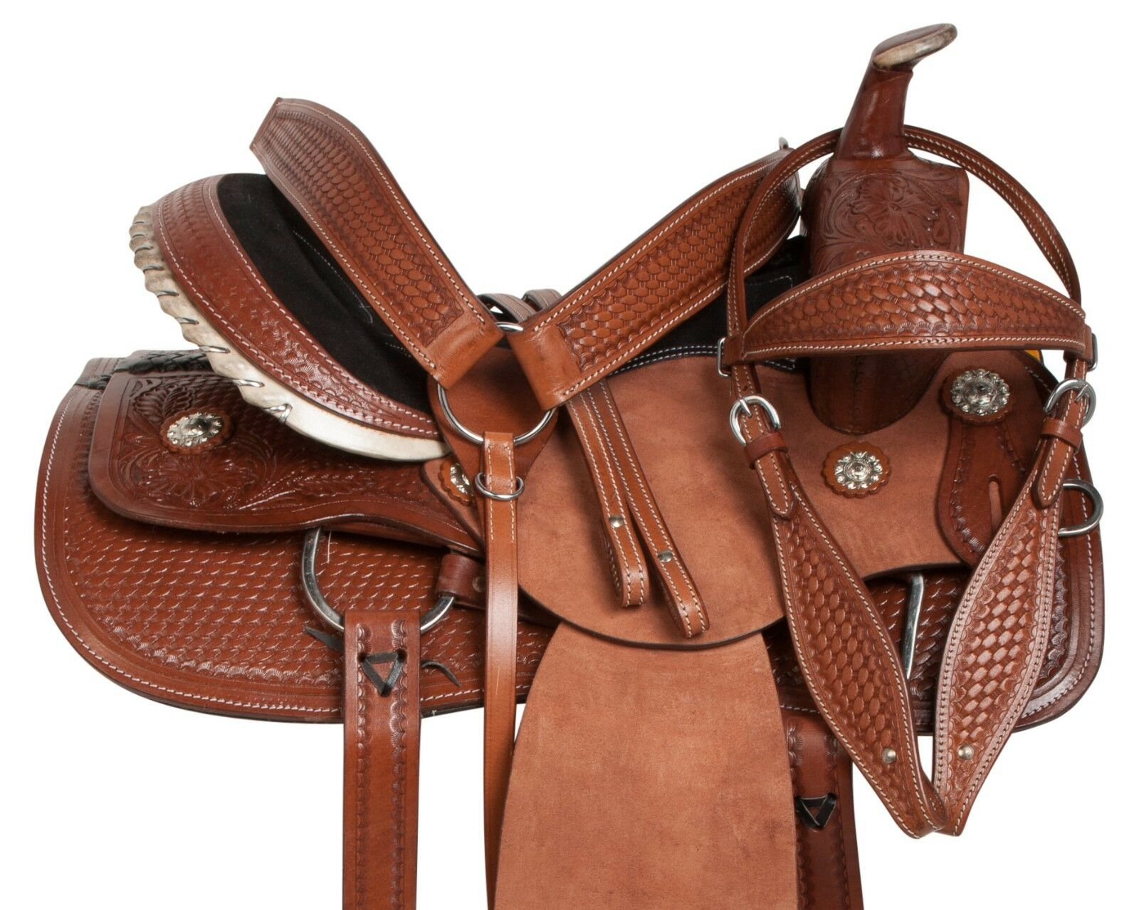 USED WESTERN ROUGH OUT LEATHER PLEASURE TRAIL ROPER HORSE SADDLE 15 16