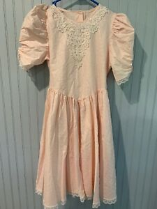 vintage jo lene girls size 12 dress pink textured w/ lace