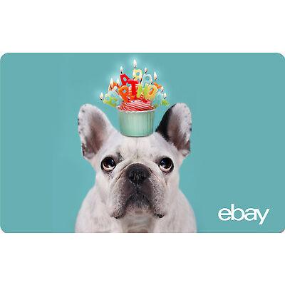 eBay eGift Card - Happy Birthday - Dog -  $25 $50 $100 or $200 - Email Delivery