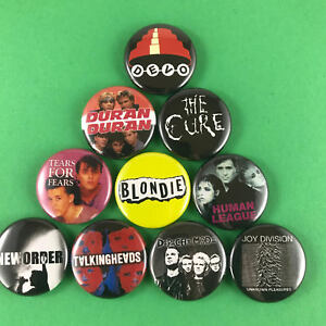 New-Wave-1-034-Button-Pin-Set-Devo-Duran-Duran-The-Cure-New-Order-Depeche-Mode