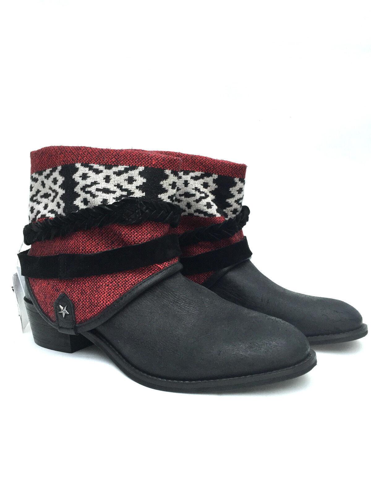 Zara Leder Tribal Ethnisch Ankle Stiefel Größe UK6/Eur39/Us8