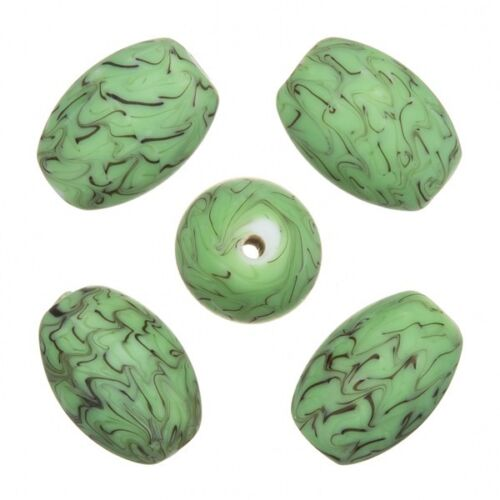 Sea Wave Design Green Oval Handmade Glass Beads 18x13mm Pack of 5 A52//4