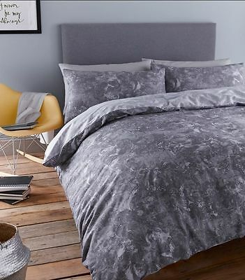NEW Single Duvet Quilt Cover Quality Bedding Set Grey Marble Effect Reversible