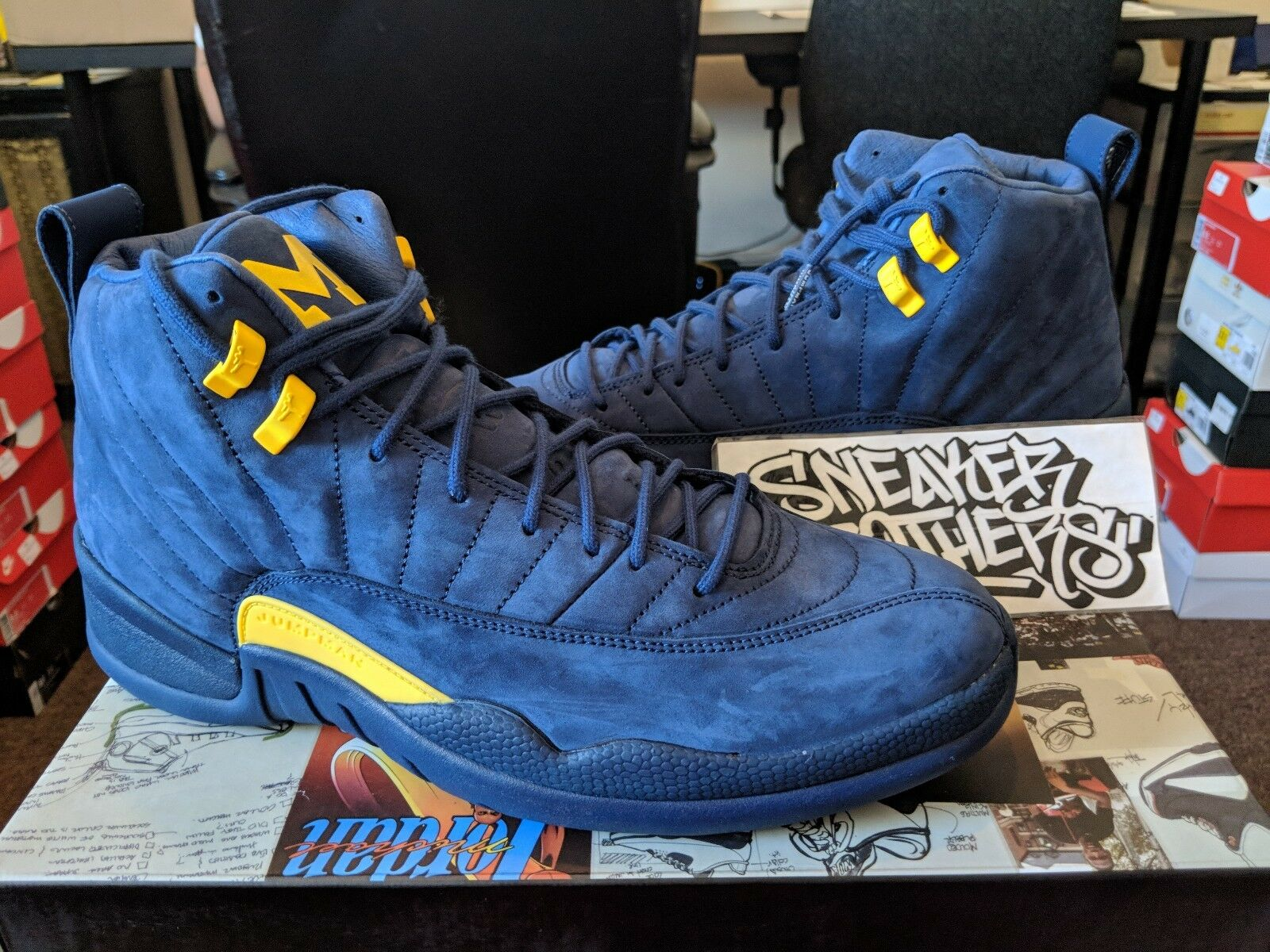 Nike Air Jordan Retro XII 12 Michigan NRG PE College Navy Amarillo BQ3180-407