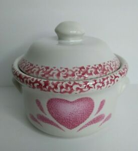 Unbranded Pink Heart Spongeware Crock with Lid and Handles Stoneware Container