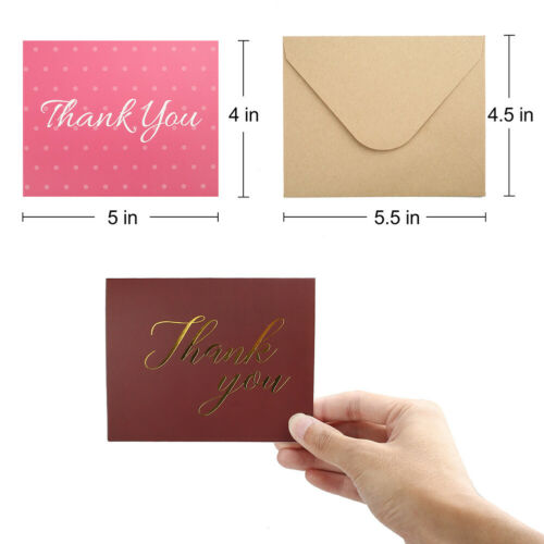 48 Count Blank Mini Kraft Bulk Thank You Note Cards With Envelopes