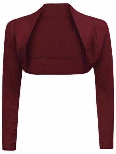 Nouvelle Chemise à Manches Longues Uni Haussement cropped boléro Femme cardigan taille plus haut