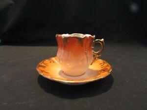 Ornate Footed Burnt Orange Demitasse Tea Cup & Saucer  Made in  Germany