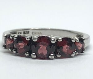Vintage-Sterling-Silver-Ring-925-Size-9-China-Red-Garnet-Signed-KM