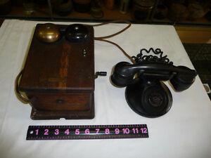VINTAGE-WESTERN-ELECTRIC-MAGNETO-HAND-CRANK-TELEPHONE-amp-RINGER-BOX-OAK