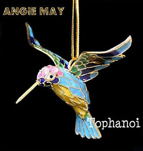 image is loading cloisonne hummingbird suncatcher enamel hanging bird christmas ornament
