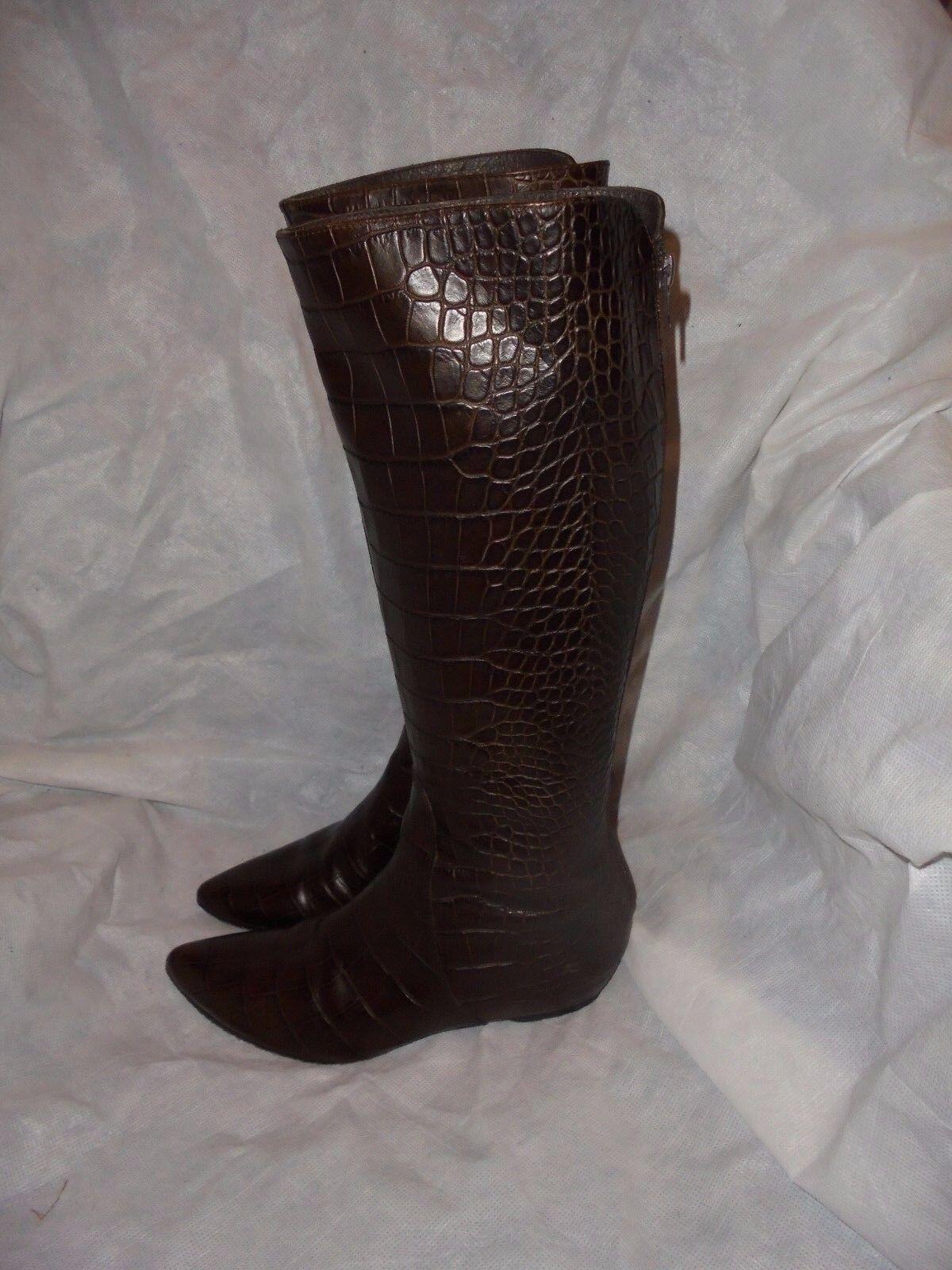 Paco herrana Para mujeres Cuero Marrón Cocodrilo Zip Knee High Boot Size en muy buena condición