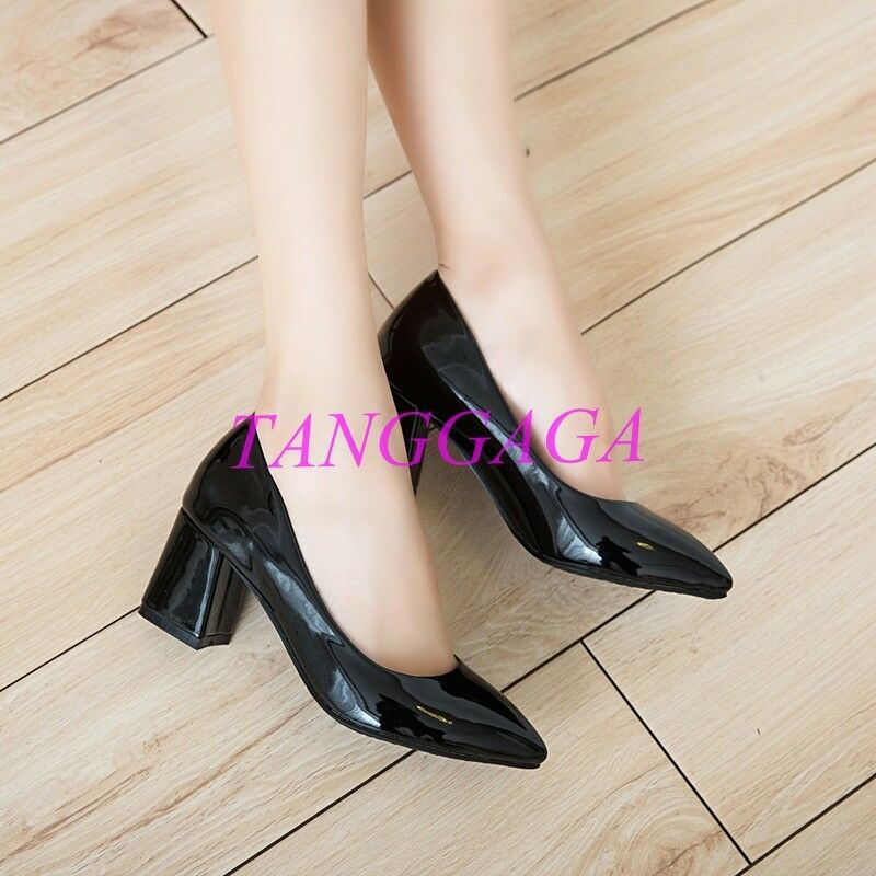 Plus Size Vogue Shiny Patent OL Mid Block Heel Pointed Toe Womens shoes Wedding