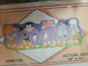NOS-Vintage-Halloween-1988-Flocked-034-SPOOKY-034-Jointed-Banner-Peck-MADE-IN-USA