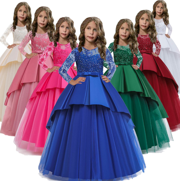 Childrens Girls Elegant Embroidered Floral Ball Gown Wedding Tulle Dress ZG8