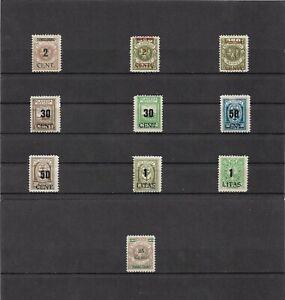 Memel-Litauen-1923-Einzelmarken-aus-MiNrn-193-233-ungebraucht-o-Gummi
