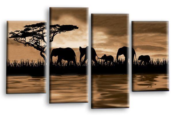 Elefante Arte Foto Sepia Marrón Animal Impresión Impresión Impresión De Parojo De Lona Sunset conjunto de split 856007