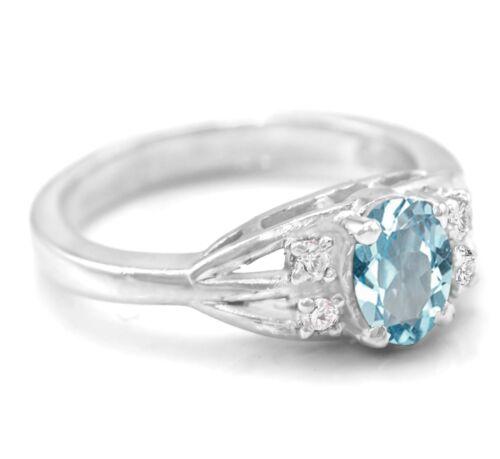 925 Sterling Silver Ring avec Naturel Topaze Bleue Solitaire avec Accent Taille 4-11