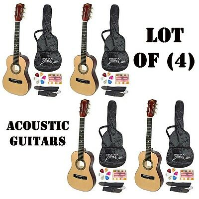 """Lot Of (4) Sets Pyle 30"""" Beginner's Acoustic Guitar W/ Strap/picks/tuner & Case High Quality And Low Overhead"""