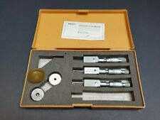 3pc Mitutoyo Holtest Vernier Inside Micrometer Set 12 To 24 Gage Machinist