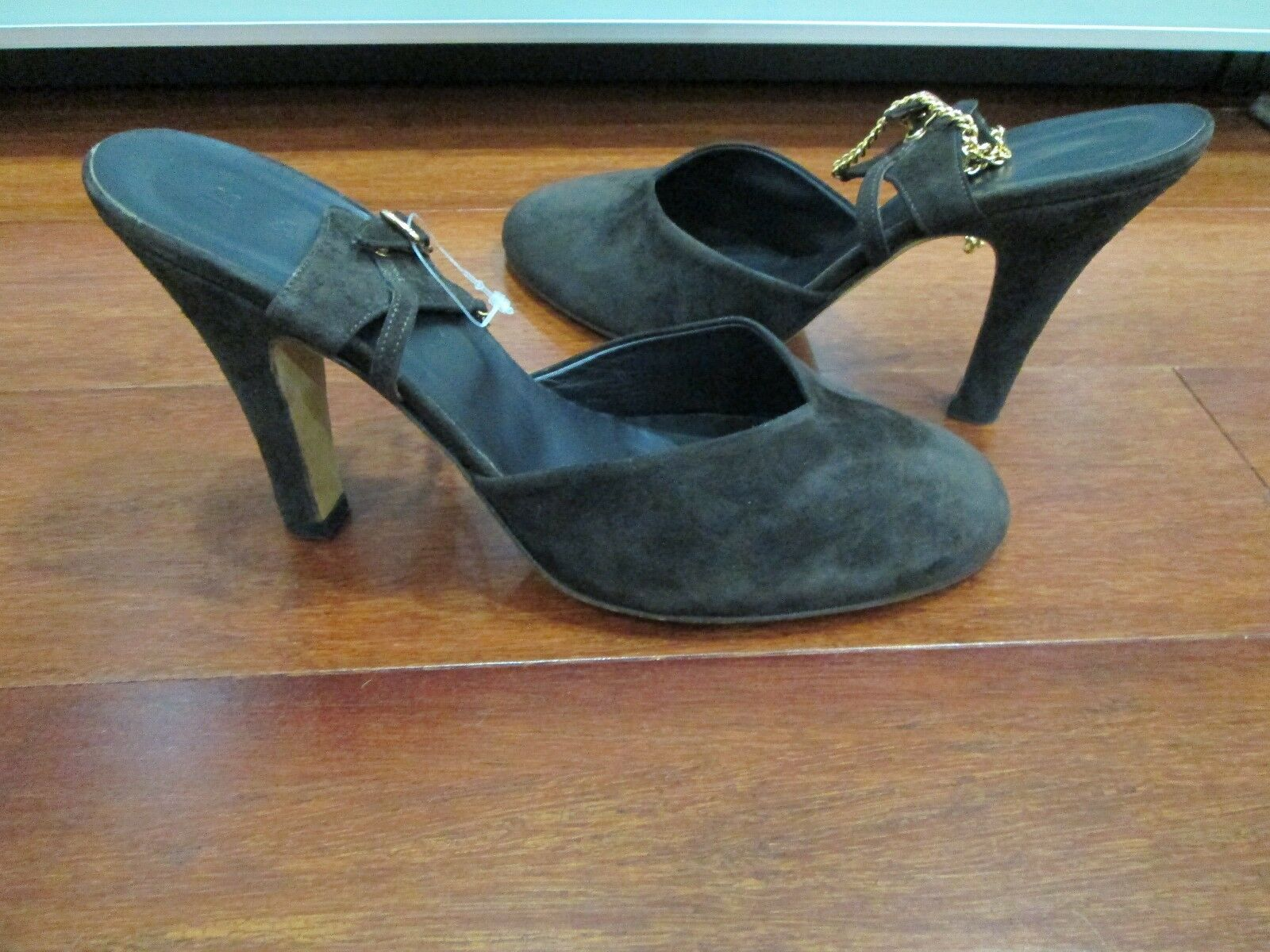 MARNI Brown Suede Suede Suede Ankle Strap Rounded Toe Pumps Size 39 29152f