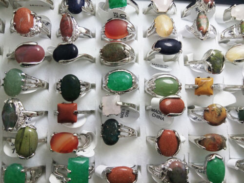 wholesale 500 nature stone rings alloy mix  men/'s women party birthday jewelry