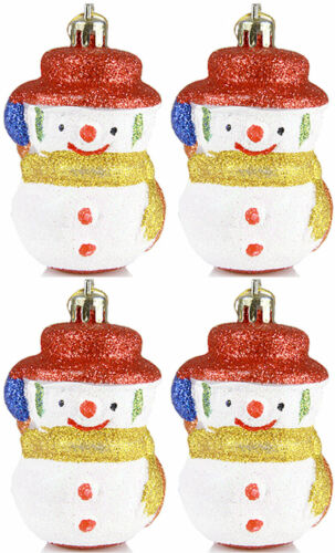 4 Stück Weihnachtskugeln Christbaumkugeln Christbaumschmuck Schneemann