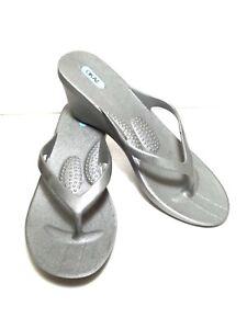6a326af16755 Oka b Okabashi thong wedge flip flops silver size Large slip on ...