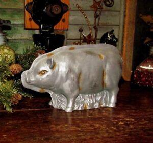 Primitive-Antique-Vtg-Tin-Style-Farm-Pig-Hog-Resin-Faux-Chocolate-Candy-Mold