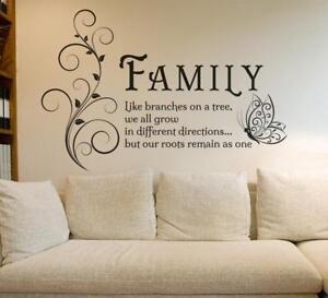 Family Tree Butterfly Quote Living Room Bedroom Wall Art Vinyl Sticker V394 Ebay