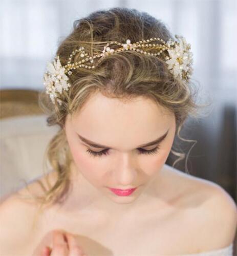 Gorgeous Gold Bridal Halo Beaded Wedding Dress Headpieces Flora Pearl Hair Vine