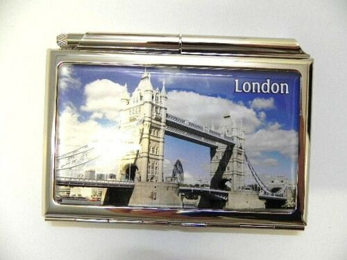Visitenkarten Etui London Tower Bridge,Great Britain,mit Stift und Block